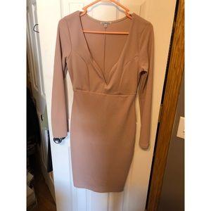 Tan Long Sleeve Midi Dress